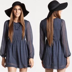 Free People Navy Combo Butterfly Dress